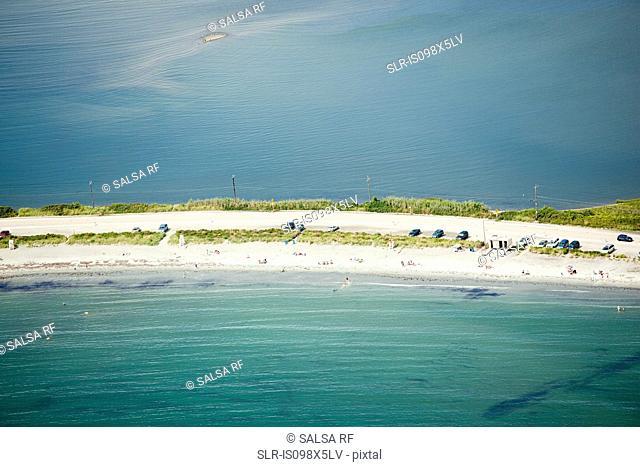 Tourists on beach, Newport County, Rhode Island, USA