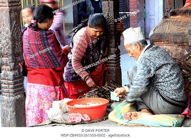 Street seller, UNESCO World Heritage Site, Durbar Square, Old Town, Kathmandu City, Nepal, Asia