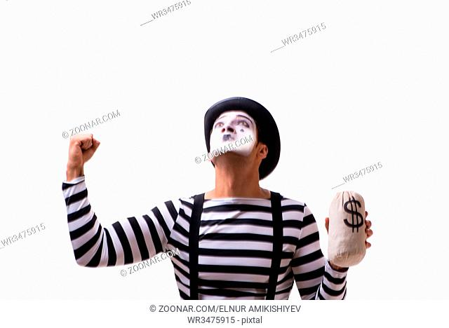 Mime with moneybag isolated on white background
