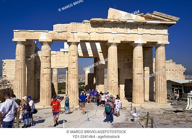 Athens Greece. Propylaea, the gate at the entrance of the Acropolis