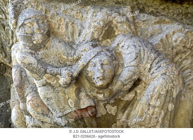 France, Occitanie, Haute Garonne, detail of the tympam of the romanic basilic of Saint Just by Saint Bertrand de Comminges
