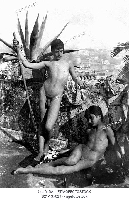 Old photograph (c. 1900) of naked young boys, Tangier, Morocco