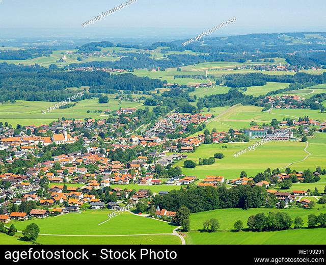 Aerial view of Aschau in the Chiemgau in the bavarian alps. Europe, Germany, Bavaria