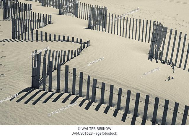USA, New York, Long Island, The Hamptons, Westhampton Beach, beach erosion fence