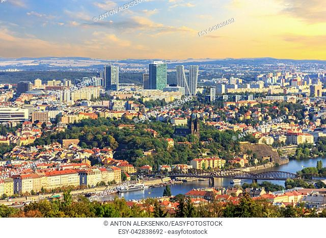 Prague Old Town and business district, aerial view