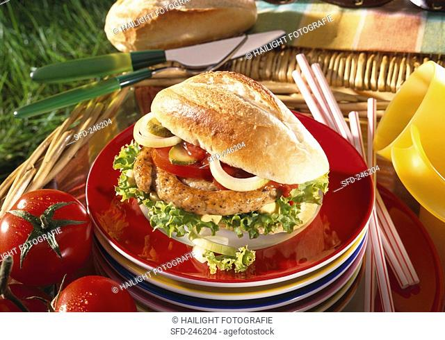 Bread roll with sausage for picnic