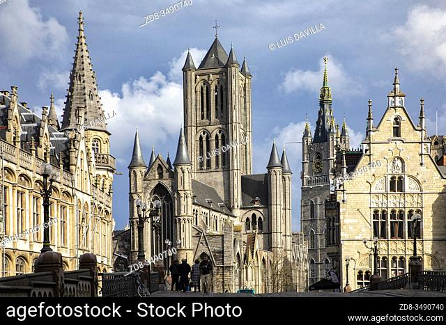 from the St. Michael's bridge. St. Nichola's cathedral, the belfort tower bell . Ghent. Belgium