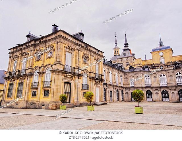 Spain, Castile and Leon, Province of Segovia, San Ildefonso, View of the Royal Palace of La Granja de San Ildefonso.