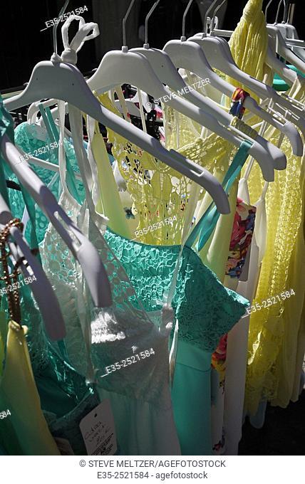 A rack of lingerie on sale outside a shop
