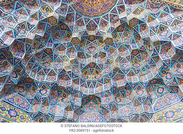Honeycomb vault or muqarnas at Masjed-e Nasir al-Molk, also known as pink mosque, Shiraz, Iran