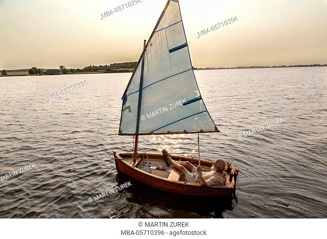 Lifeboat, sailboat, man, 'Museumshafen Greifswald', Germany, Greifswald, Mecklenburg-Western Pomerania, North Sea