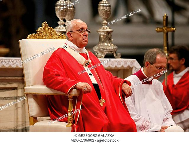Pope Francis (Jorge Mario Bergoglio) celebrating the Feast of the Exaltation of the Cross at Saint Peter's Basilica. Vatican City, 14th September 2014