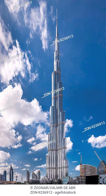 Dubai, United Arab Emirates - Dec 2, 2014: View of the Burj Khalifa, the tallest building in the world, at 828m. Located on Downtown Dubai, Sheikh Zayed Road