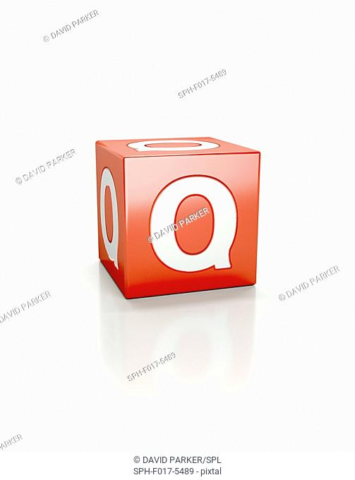 Red cube with letter Q