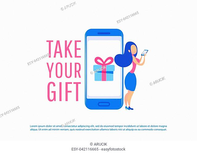 Online shopping concept banner. Young woman shop online using smartphone. Landing page template