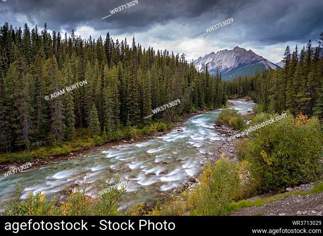 The Maligne River meandering through the Canadian Rockies, Jasper National Park, UNESCO World Heritage Site, Alberta, Canada, North America