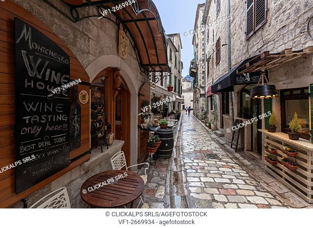 The narrow paved streets of the old town of Kotor, Montenegro