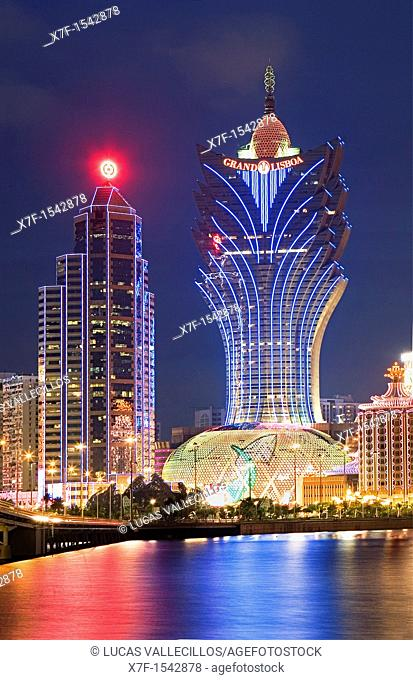 City Skyline with Bank of China Building and Grand Lisboa Hotel-Casino,Macau,China