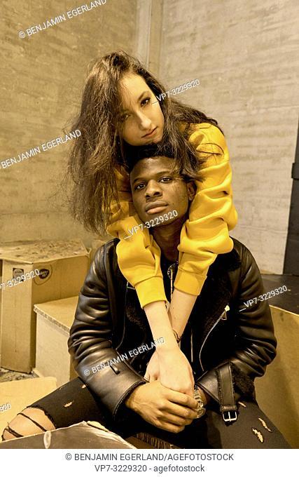 cool couple enjoying togetherness indoors