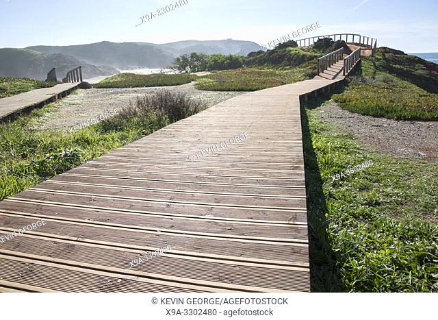 Walkway at Amado Beach; Algarve; Portugal; Europe