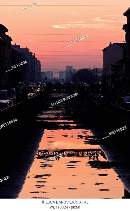 A sunset in one of the most characteristic areas Alzaia Naviglio Grande of Milan Italy