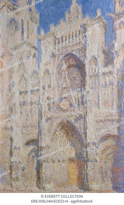 Rouen Cathedral: The Portal (Sunlight), by Claude Monet, 1894, French impressionist oil painting. Monet painted more than thirty views of Rouen Cathedral in...