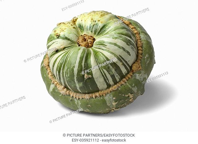 Fresh heirloom green Turban squash on white background