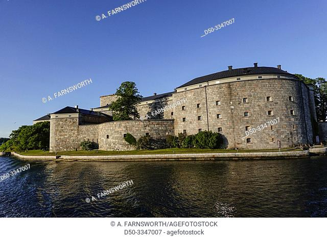 Vaxholm, Sweden The 16th-century Vaxholm Fortress, built on an islet to defend Stockholm, in the Stockholm archipelago