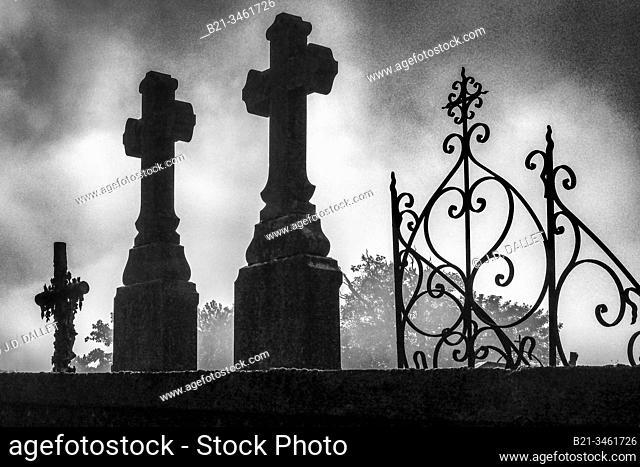 France, Pays de la Loire, Mayenne, graveyard at Menidou. Religion, Cross, Christian