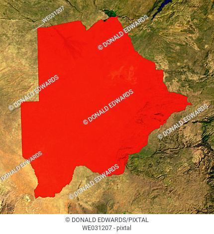 Highlighted satellite image of Botswana