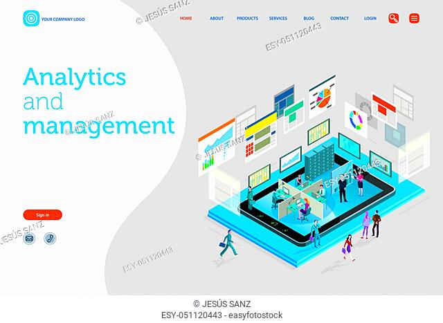Vector illustration concept. A teamwork in a analytics and management company. The big screens sowing data, Infographics and numbers