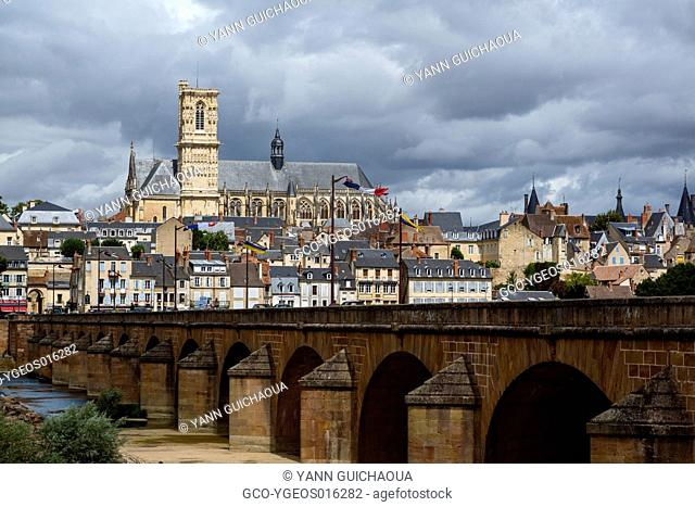 Cathedral Saint Cyr and Sainte Julitte and bridge across the river Loire, Nevers, Nievre, France