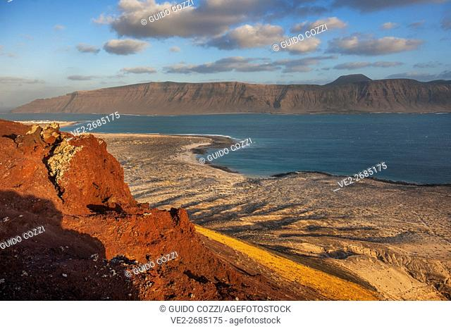 Spain, Canary Islands, La Graciosa. Panoramic view from Amarilla Mountain top