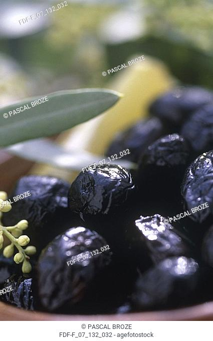 Close-up of black olives