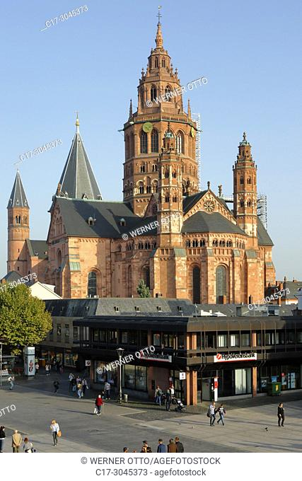 Mainz, D-Mainz, Rhine, Rhine-Main district, Rhineland, Rhineland-Palatinate, Mainz Cathedral, St. Martins Cathedral, imperial cathedral, pillar basilica