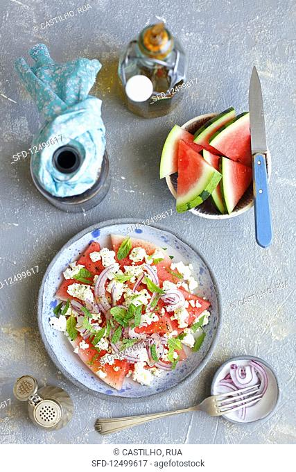 Watermelon with feta and mint