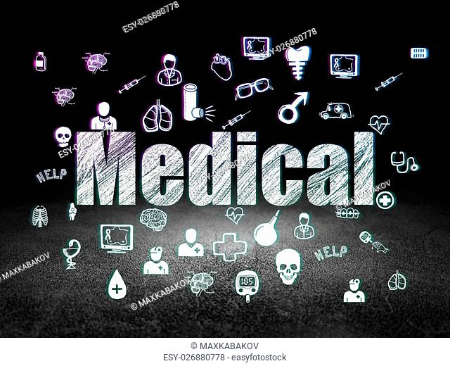 Health concept: Glowing text Medical, Hand Drawn Medicine Icons in grunge dark room with Dirty Floor, black background, 3d render