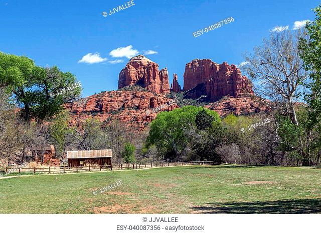 Cathedral Rock Over The Old Mill At Crecent Moon Picnic Area In Red Rock Crossing Park In Sedona Arizona
