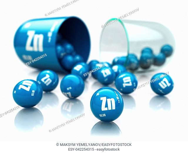 Capsule with izinc Zn element. Dietary supplements. Vitamin capsule isolated on white. 3d illustration