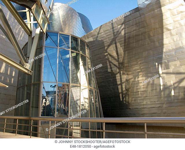 DETAIL GUGGENHEIM ART MUSEUM BILBAO BASQUE COUNTRY SPAIN