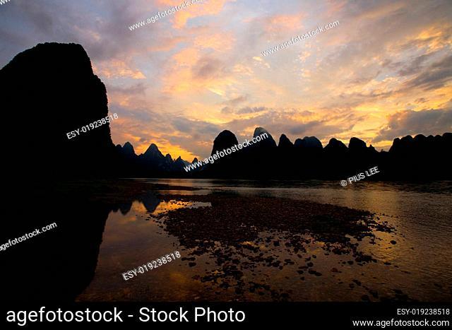Karst Formations Evening Xingping China