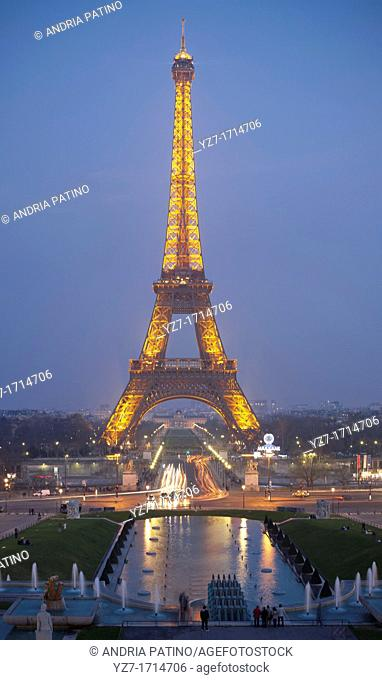 Eiffel Tower seen at night from the Esplanade du Trocadero
