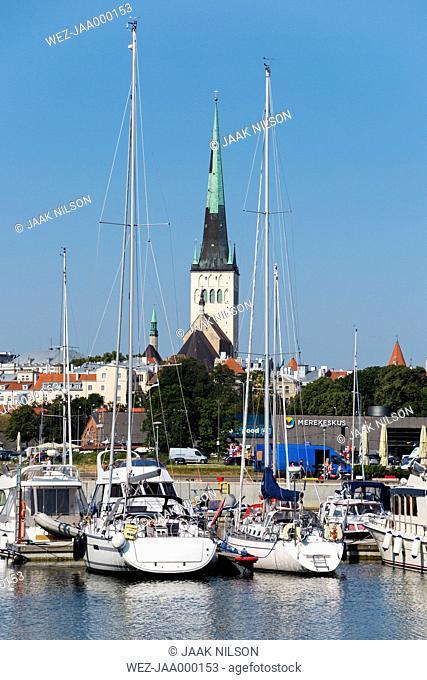 Estonia, Tallinn, moored yachts in old city marina