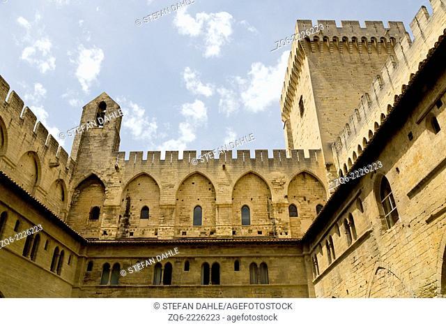 Exterior Facade of the Palais des Papes in Avignon, Provence, France