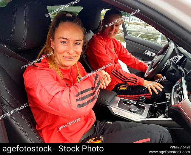 Tessa Wullaert of Belgian national soccer team the Red Flames pictured at a skid control driving exercise in Rotselaar, Friday 03 July 2020.