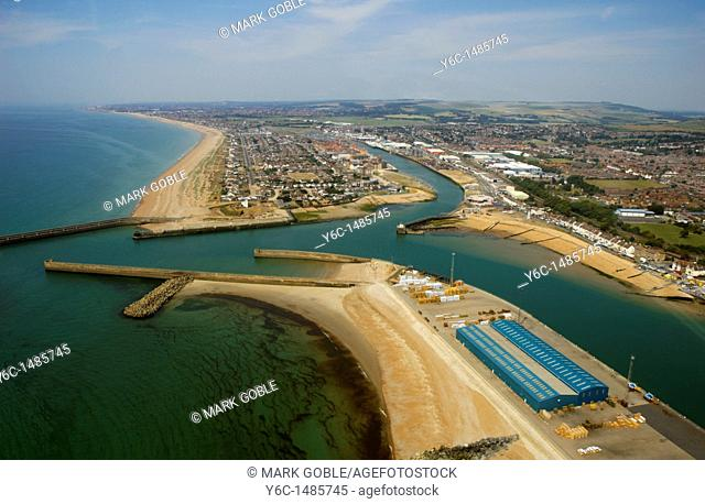 An aerial view of the entrance to Shoreham harbour, Sussex