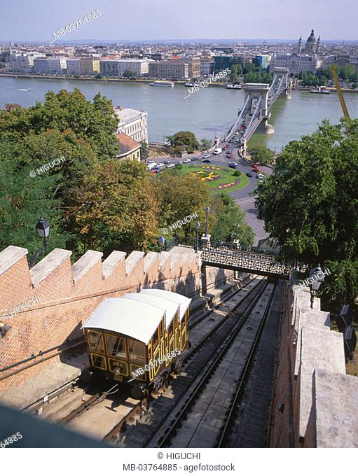 Hungary, Budapest, view at the city,   bridge, stand, cable railway, river Danube Europe, Central Europe, Magyar Köztársaság, city, capital, sight, landmarks