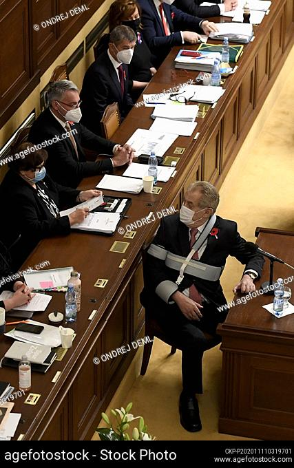 +++FILE PHOTO+++Czech President Milos Zeman speaks during the Chamber of Deputies session in Prague, Czech Republic, November 11, 2020
