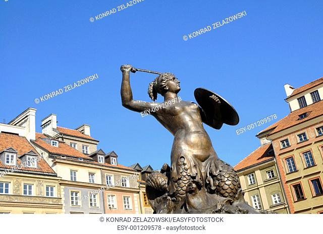 Mermaid Statue designed by Konstanty Hegel 1799-1896, symbol of Warsaw city, capital of Poland, located in the center of Old Town Market Place