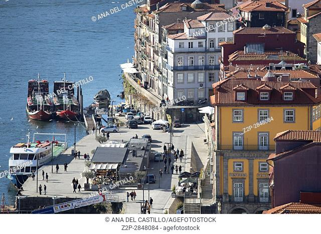 Aerial view of the old town in Porto from Dom Luis the first bridge on January 7, 2017 Portugal